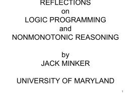 REFLECTIONS on LOGIC PROGRAMMING and …