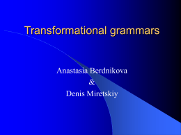 Transformational grammars - Department of Information …