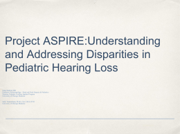 Project ASPIRE:Understanding and Addressing Disparities …