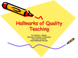Hallmarks of Quality Teaching
