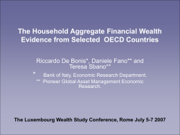 The Household Aggregate Financial Wealth Evidence from