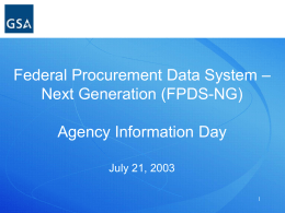 FPDS Agency Information Day