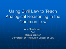 Using civil law to teach analogical reasoning in the