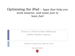 Optimizing the iPad - Apps that help you work smarter, …