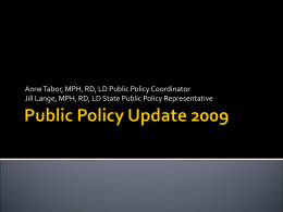 Public Policy Update 2009 - Iowa Academy of Nutrition …