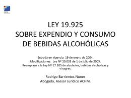 LEY 19.925 SOBRE EXPENDIO Y CONSUMO DE BEBIDAS