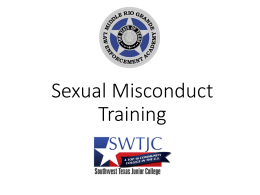 Sexual Misconduct Training - Southwest Texas Junior College