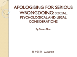 APOLOGISING FOR SERIOUS WRONGDOING: SOCIAL, …
