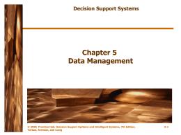 Chapter 5 Business Intelligence: Data Warehousing, Data