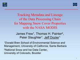 Tracking Metadata and Lineage of the Data Processing …