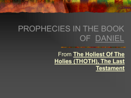 PROPHECIES IN THE BOOK OF DANIEL