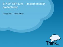 E-KSF ESR Link – implementation presentation