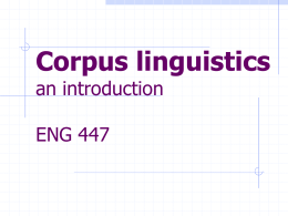 Corpus linguistics an introduction