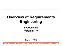 Overview of Requirements Engineering