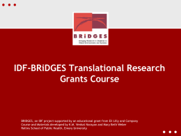IDF-BRiDGES Translational Research Grants Course