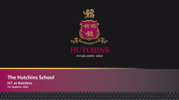 THE HUTCHINS SCHOOL DOCUMENT HEADING …