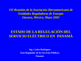 PANORAMA DE LA EXPERIENCIA REGULATORIA, …