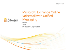 Exchange Online - Voicemail with Unified Messaging