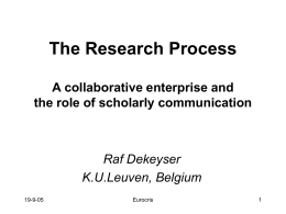 The Research Process From application to publication or