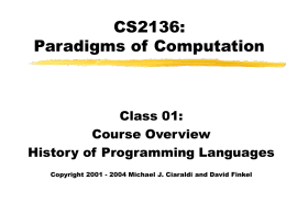 CS2136: Paradigms of Computation