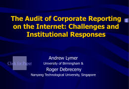 Auditing Online Reporting: Professional Pronouncements …
