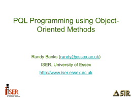PQL Programming using Object