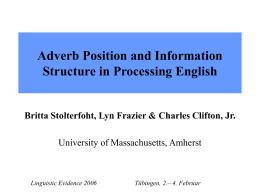Prosodie und Fokusstruktur bei der Verarbeitung