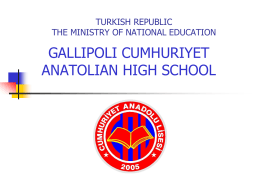 TURKISH REPUBLIC THE MINISTERY OF NATIONAL …