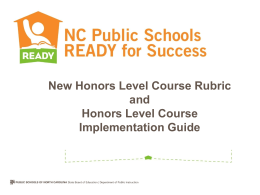 New Honors Level Course Rubric Honors Level Course