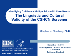 Epidemiology of CSHCN - Opening Doors for Youth
