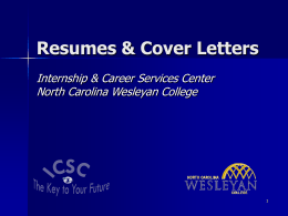 Resumes & Cover Letters - North Carolina Wesleyan College