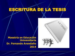 ESCRITURA DE LA TESIS