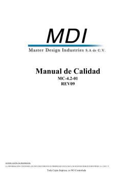 Diapositiva 1 - MDI - Master Design Industries S.A. de C.V.