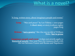 What is a novel? - Istituto Elvetico
