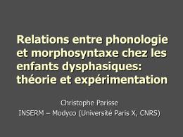 Dysphasie & phonologie : analyse de langage spontan&#233