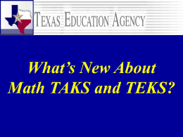 Math TAKS and TEKS