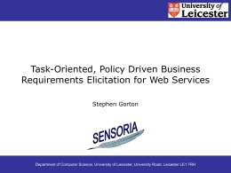 Task-Oriented, Policy Driven Business Requirements for …