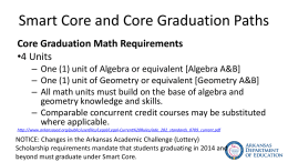Smart Core and Core Graduation Paths (High School Math)
