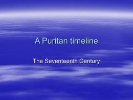 A Puritan timeline