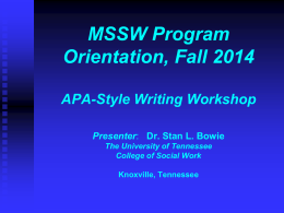 APA Writing Workshop Sponsored By: National …