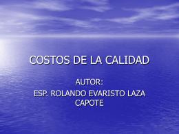 COSTOS DE LA NO CALIDAD