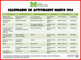 CALENDARIO DE ACTIVIDADES 2013