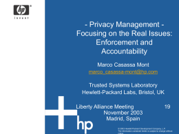 Privacy management: accountability and enforcement