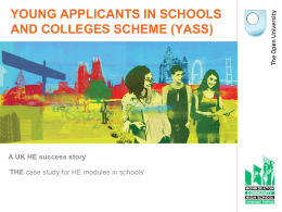 Inclusion and SEN Young Applicants In Schools and