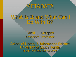 METADATA: What is It and What can I Do with It?
