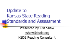Update to Kansas State Reading Standards and …