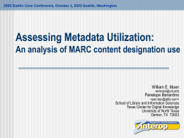 Assessing Metadata Utilization: An analysis of MARC