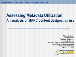 Assessing Metadata Utilization: An analysis of MARC