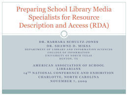 Preparing School Library Media Specialists for Resource