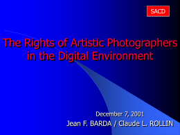 The Rights of Artistic Photographers in the Modern World
